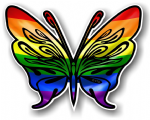 Tribal Butterfly With LGBT Gay Pride Flag Vinyl Car Sticker 120x95mm